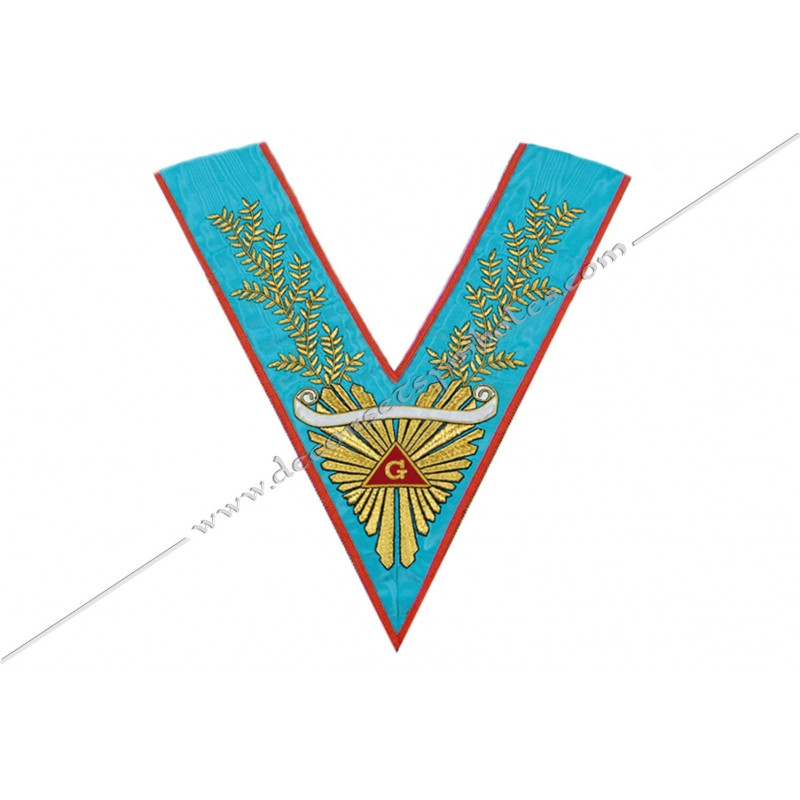 VRA 072 1R - Sautoir de Vénérable Maitre REAA. Grande gloire, acacia, banderole personnalisée, décors FM