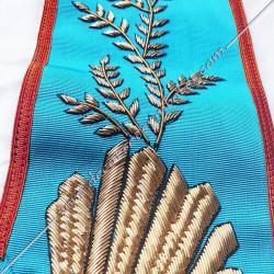Sautoir de vénérable Maitre, REAA ,, feuilles acacia, broderies dorées, décors franc maçonnerie, bijoux, accroche, cadeaux