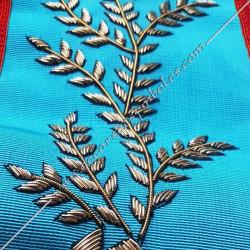 Sautoir de vénérable Maitre, REAA ,, branche acacia, broderies dorées, décors franc maçonnerie, bijoux, accroche, cadeaux