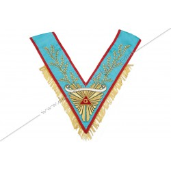 VRA 072R - Sautoir de Vénérable Maitre REAA. Grande gloire, acacia, galon franges dorées, banderole personnalisée