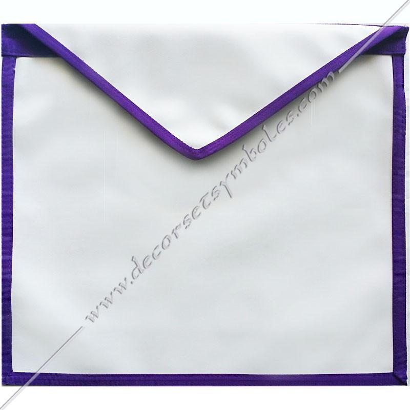 TRM 002P -Tablier maçonnique d'apprenti, compagnon Memphis Misraim, bords violets pourpres, decors, signes maçonniques bijoux