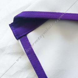 Tablier maçonnique d'apprenti, compagnon Memphis Misraim, bords violets pourpres, bavette relevable, decors maçonniques, bijoux