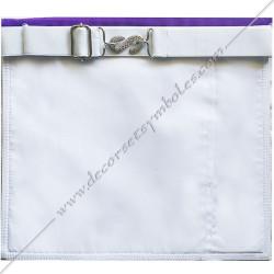 Tablier maçonnique d'apprenti, compagnon Memphis Misraim, bords violets pourpres, poche gants, decors maçonniques, bijoux, RMM