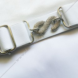 décors maçonniques, ceinture élastique adaptable, dos blanc, boucle serpent, Memphis Misraim, FM, gants