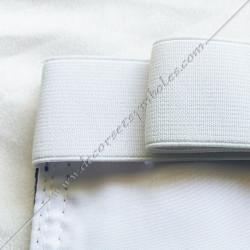 ceinture élastique blanche, tablier du rite Memphis Misraim, mauve, décors maçonniques, dos blanc, FM, franc maçonnerie