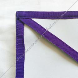 TRM 075P- Tablier maçonnique de compagnon du rite Memphis Misraim, bords violets pourpres, decors maçonniques, accessoires