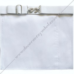 Dos blanc, tablier maçonnique de compagnon Memphis Misraim, bords violets pourpres, poche gants, decors maçonniques, bijoux, RMM