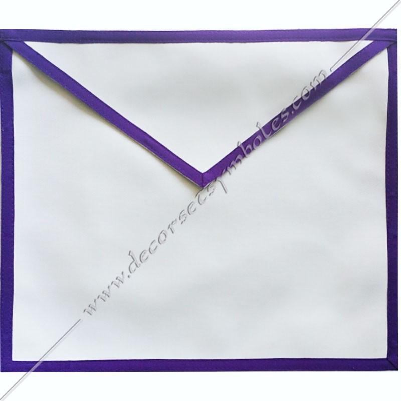TRM 075P- Tablier maçonnique de compagnon du rite Memphis Misraim, bords violets pourpres, decors maçonniques, bijoux, RMM