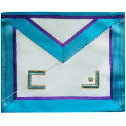 TRM 013P- Tablier maçonnique de maître du rite Memphis Misraim, turquoise violet pourpre mauve, decors, symboles maçonniques