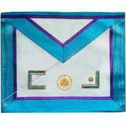 TRM 013P- Tablier maçonnique de maître du rite Memphis Misraim, ouroboros, turquoise violet, decors, symboles maçonniques