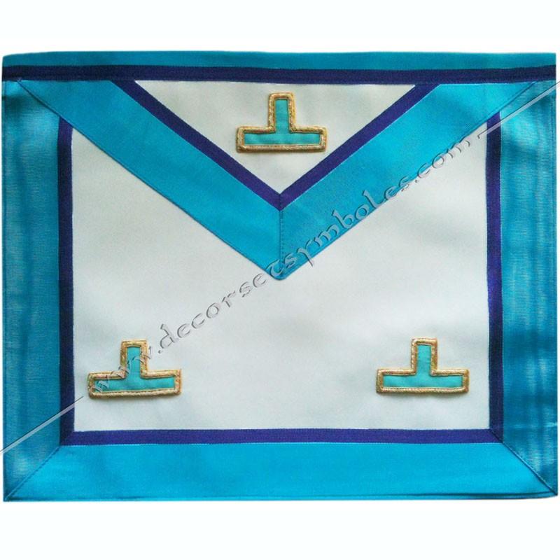 TRM 387P- Tablier maçonnique de maître du rite Memphis Misraim, ouroboros, taus, turquoise violet, decors, symboles maçonniques