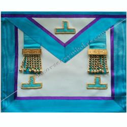 TRM338P- Tablier maçonnique de maître du rite Memphis Misraim, pendeloques dorés et taus, decors, symboles maçonniques