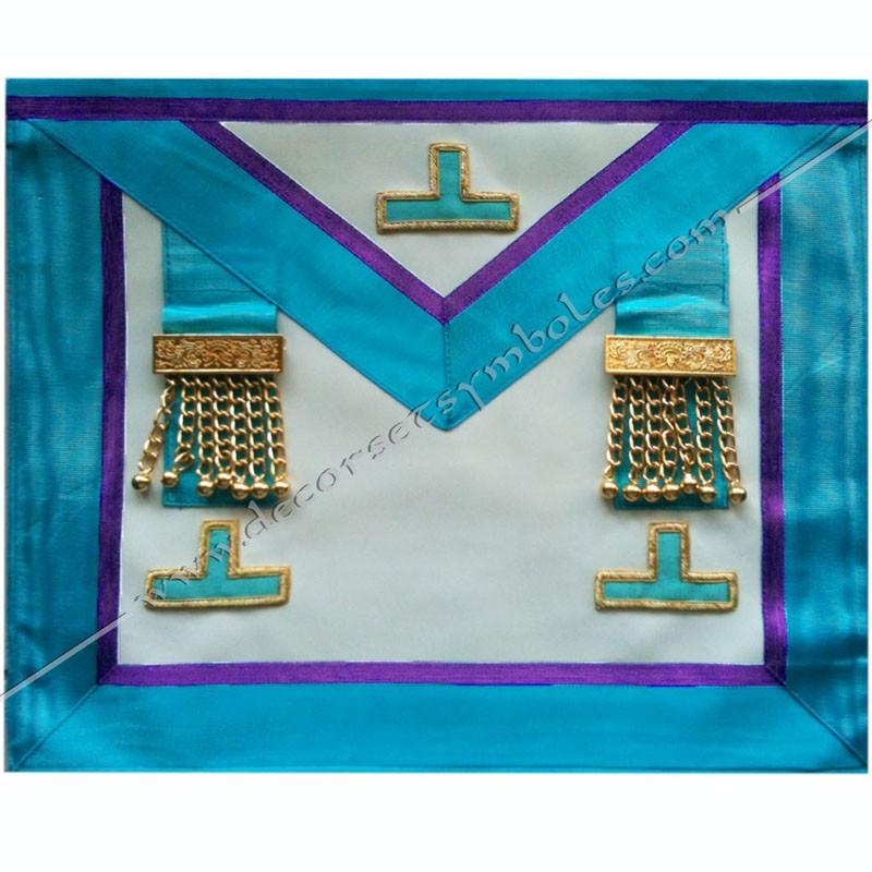 TRM388P- Tablier maçonnique de maître du rite Memphis Misraim, pendeloques dorés et taus, decors, symboles