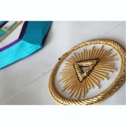 symboles, signes du rite Memphis Misraim, turquoise violet,   decors, symboles maçonniques, T, Taus dorés,  pendeloques