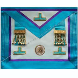 TRM306P- Tablier maçonnique de maître du rite Memphis Misraim, pendeloques dorés, ouroboros et taus, decors maçonniques