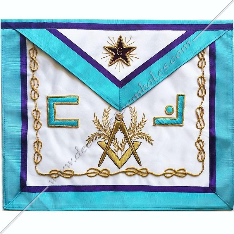 TRM080P- Tablier maçonnique, RMM, symboles, équerre, compas, acacia, lac d'amour brodés au fil d'or, décors FM