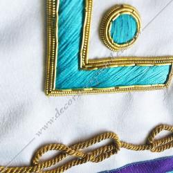 symboles maçonniques, memphis, équerre, compas, acacia, lac d'amour brodés au fil d'or, décors FM