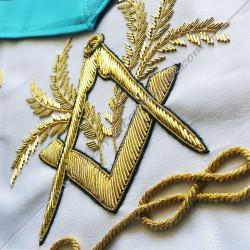 symboles maçonniques, memphis, équerre, compas, acacia dorés, fil d'or, décors FM, bijoux