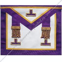 TRM081P- Tablier maçonnique de maître du rite Memphis Misraim, pendeloques dorés et taus, decors, symboles maçonniques