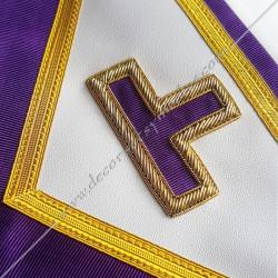 Tablier maçonnique de maître du rite Memphis Misraim, turquoise violet,   decors, symboles maçonniques, T, Taus dorés,  RMM, FM