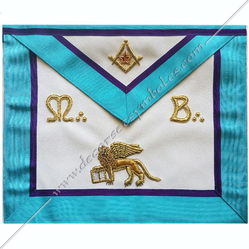 TRM468P- Tablier maçonnique, RMM, symboles, équerre, compas, M ET B lion de Venise brodés au fil d'or, décors FM