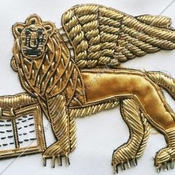 Lion de Venise doré, brodé au fil d'or, symboles rite memphis misraim, cadeaux, décors maçonniques