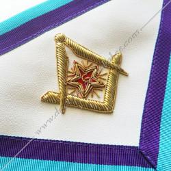 Équerre compas étoile et M, B, G brodés au fils d'or, M et B. décors maçonniques RMM turquoises, violets, mauves, pourpres