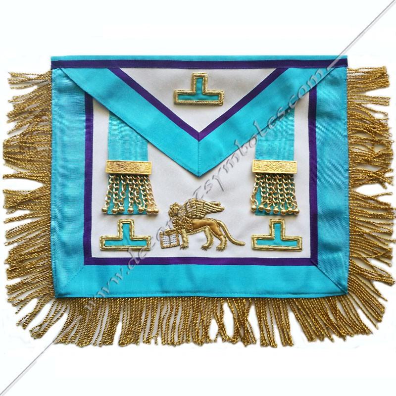 TRM468P- Tablier vénérable, RMM, symboles, pendeloques, taus, lion de Venise brodés au fil d'or, décors FM