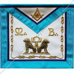 TRM432P- Tablier maçonnique, RMM, symboles, équerre, compas, lac d'amour, léopards brodés au fil d'or, décors FM