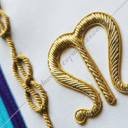 symboles, signes lettres maçonniques de Memphis Misraim, rite de Venise, décors de franc maçonnerie, lac d'amour brodés or