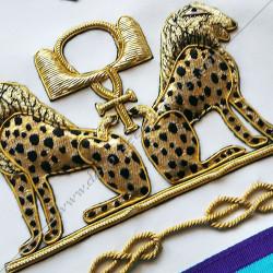 symboles maçonniques, léopard à 2 têtes, rite de Venise, décors de franc maçonnerie, bijoux or, dorés.