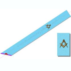 BRM014- Cordon maçonnique de maître du rite Memphis Misraim, turquoise violet pourpre mauve, décors, symboles équerre et compas