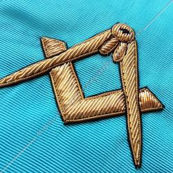 Cordon maçonnique de maître du rite Memphis Misraim, turquoise violet pourpre mauve, décors, symboles équerre et compas FM
