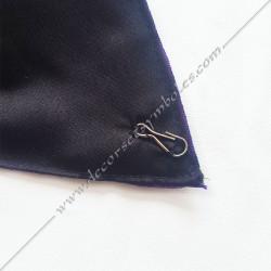 Dos noir, cordon maçonnique RMM, tête de mort, décors et signes de la franc maçonnerie, mousqueton pour bijoux de loges
