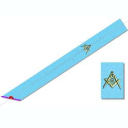 RM047- Cordon maçonnique du rite Memphis Misraim, turquoise violet pourpre mauve, décors, symboles équerre et compas, G