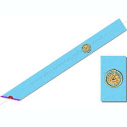 BRM030- Cordon maçonnique de maître du rite Memphis Misraim, turquoise violet pourpre mauve, décors, symboles FM ouroboros