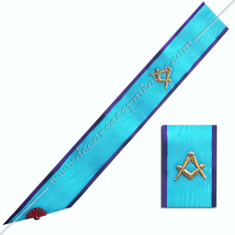 BRM017P- Cordon maçonnique de maître du rite Memphis Misraim, bords pourpres, violet, équerre et compas. Décors, symboles FM