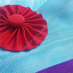 Cordon maçonnique de maître du rite Memphis Misraim, turquoise violet pourpre mauve, décors et symboles de franc maçonnerie