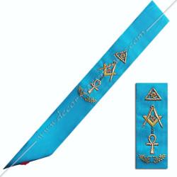RM016- Cordon maçonnique du rite Memphis Misraim, croix d'Ankh, oeil d'Orus, équerre et compas, décors FM