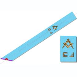 BRM038- Cordon maçonnique du rite Memphis Misraim, , décors, symboles équerre et compas, symboles et lettres maçonniques