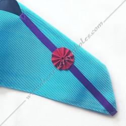 Cordon maçonnique de maître du rite Memphis Misraim, turquoise violet pourpre, violet mauve et turquoise, broderies, bijoux or