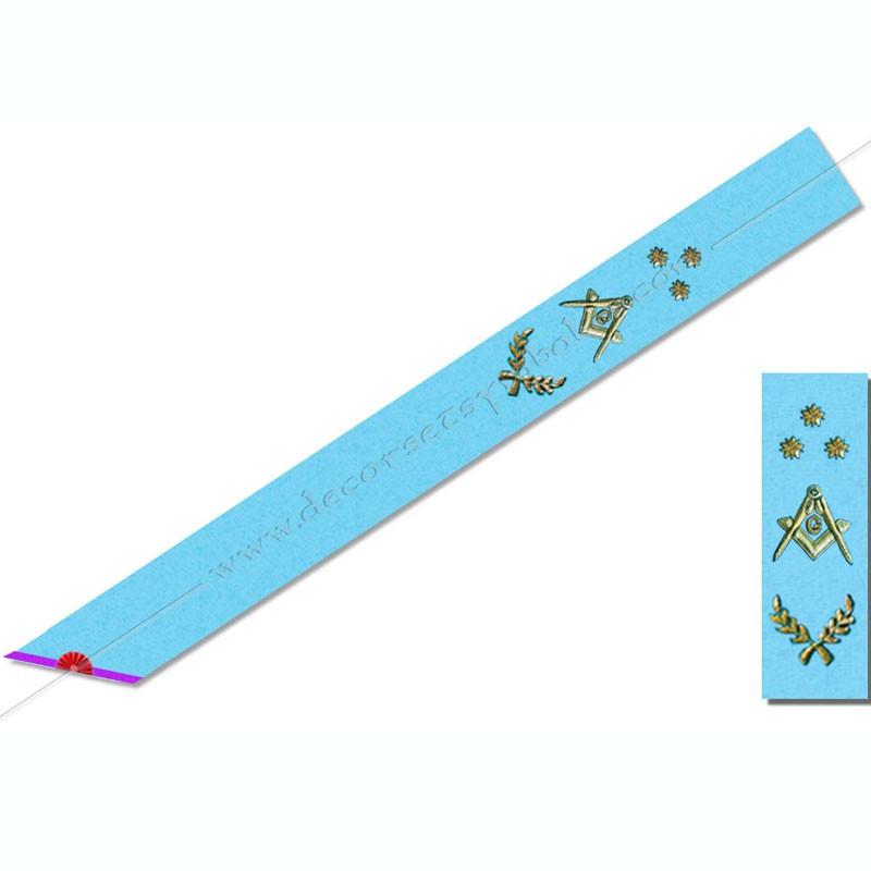 BBRM014- Cordon maçonnique de maître du rite Memphis Misraim, décors, symboles équerre, compas, myosotis, acacia, décors FM