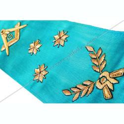 cordon maçonnique de maître du rite Memphis Misraim, décors, symboles équerre, compas, myosotis, acacia, décors FM