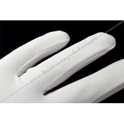 GLB 010 gants blancs, lycra, ceremonie, decors, maconniques, franc-maconnerie, loges, coton, fm,apprenti