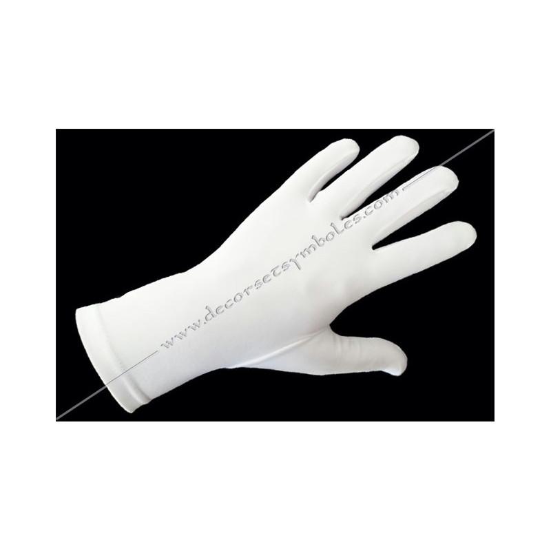 GLB 010 gants blancs, lycra, ceremonie, decors, maconniques, franc-maconnerie, loges, coton, apprenti, fm