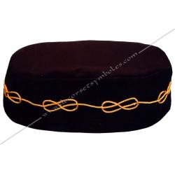 CHA001- coiffe, chapeau de franc maçonnerie, noir, galon lacs d'amour brodés, décors maçonniques, FM