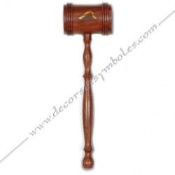 OUT 010 - Maillet maçonnique de vénérable en bois symbole or, outils de loges, accessoires de franc maçonneries, FM