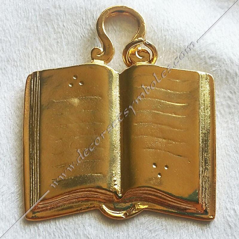 FGK 130- Bijou  de loge maçonnique, officier orateur, doré or fin  24, décors, symboles maçonniques, doré, sautoir