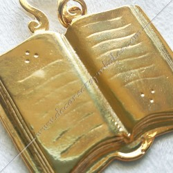 Bijou  de loge maçonnique, officier orateur, doré or fin  24, décors, symboles maçonniques, doré, sautoir, cadeaux