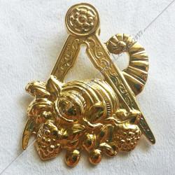 FGK 160- Bijou  de loge maçonnique, officier maître des banquets, doré or fin  24, décors, symboles maçonniques, doré, sautoir